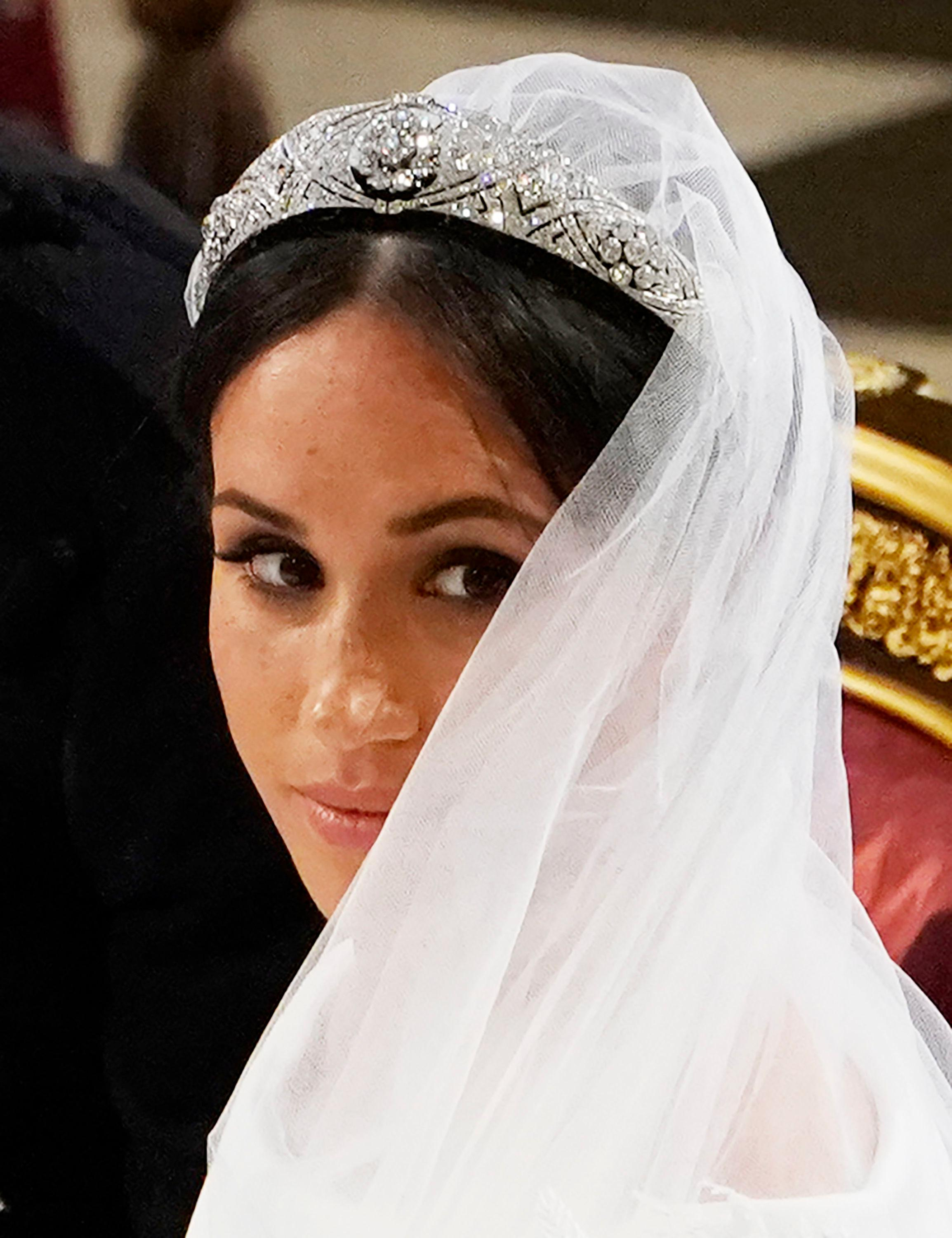 Meghan Markle during her wedding ceremony to Britain's Prince Harry at St. George's Chapel in Windsor Castle in Windsor, near London, England, Saturday, May 19, 2018. (Owen Humphreys/pool photo via AP)