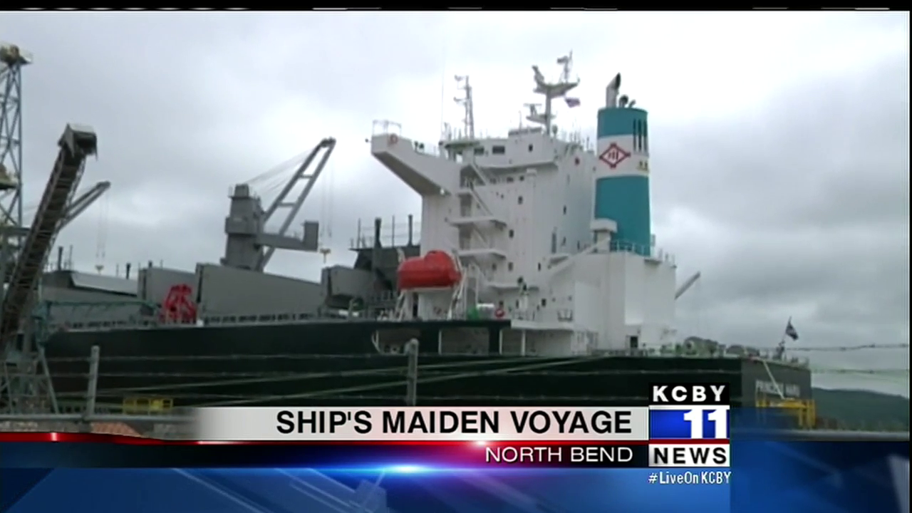 The ship will carry wood chips to Japan from North Bend and a few other locations around the world, July 26, 2017. (SBG)