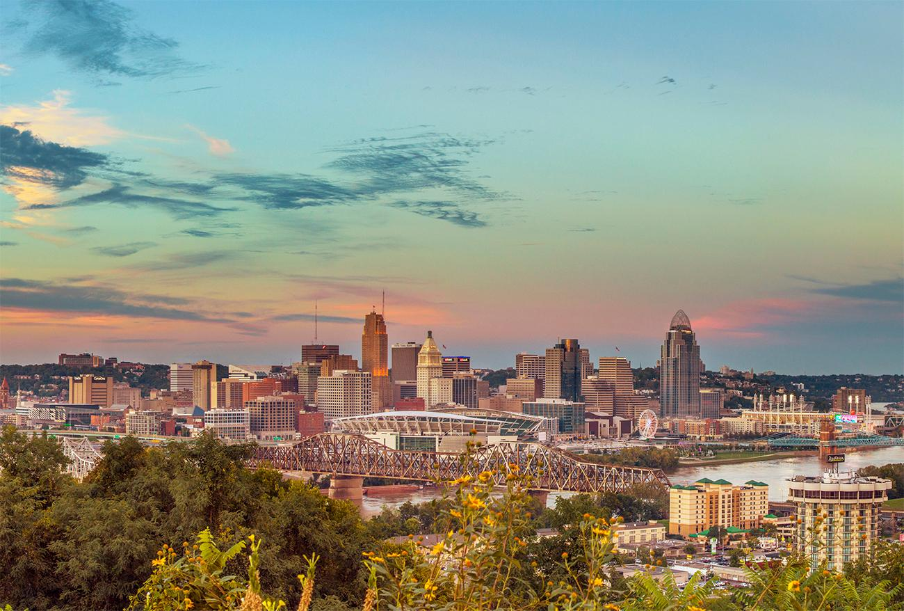 Closeup detail of a panoramic photo of Cincinnati looking northeast by Chris Ashwell from 2018. View the whole image by going to the Public Library downtown and seeing the Panorama of Progress exhibit. The exhibit runs until October 31. ADDRESS: 800 Vine Street (45202) / Image courtesy of the Public Library of Cincinnati // Published: 10.4.18