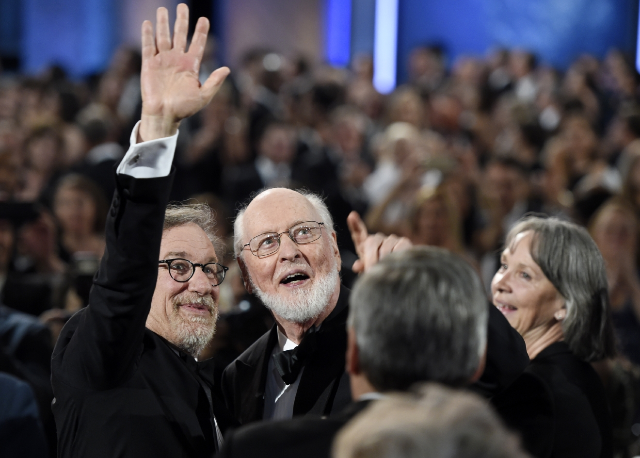 Filmmaker Steven Spielberg, left, and composer John Williams wave to the audience during the 2016 AFI Life Achievement Award Gala Tribute to Williams at the Dolby Theatre on Thursday, June 9, 2016, in Los Angeles. (Photo by Chris Pizzello/Invision/AP)