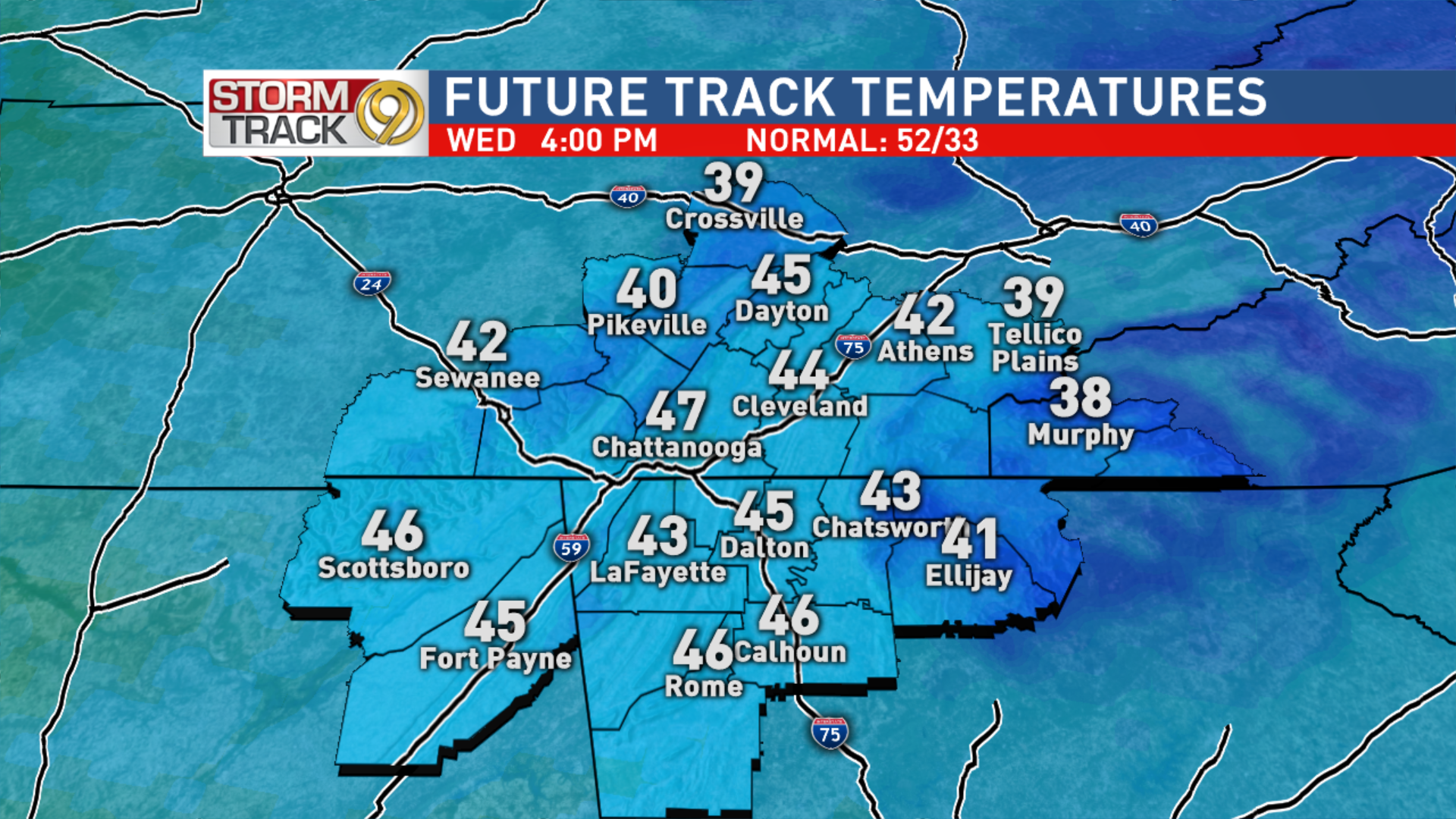 Wednesday Afternoon Temps