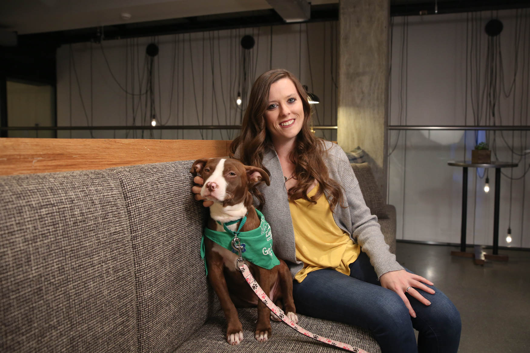 Meet Ula and Meghan, a 5-month-old Terrier mix and a 29-year-old human respectively. Photo location: Moxy Washington, D.C. Downtown (Image: Amanda Andrade-Rhoades/ DC Refined)