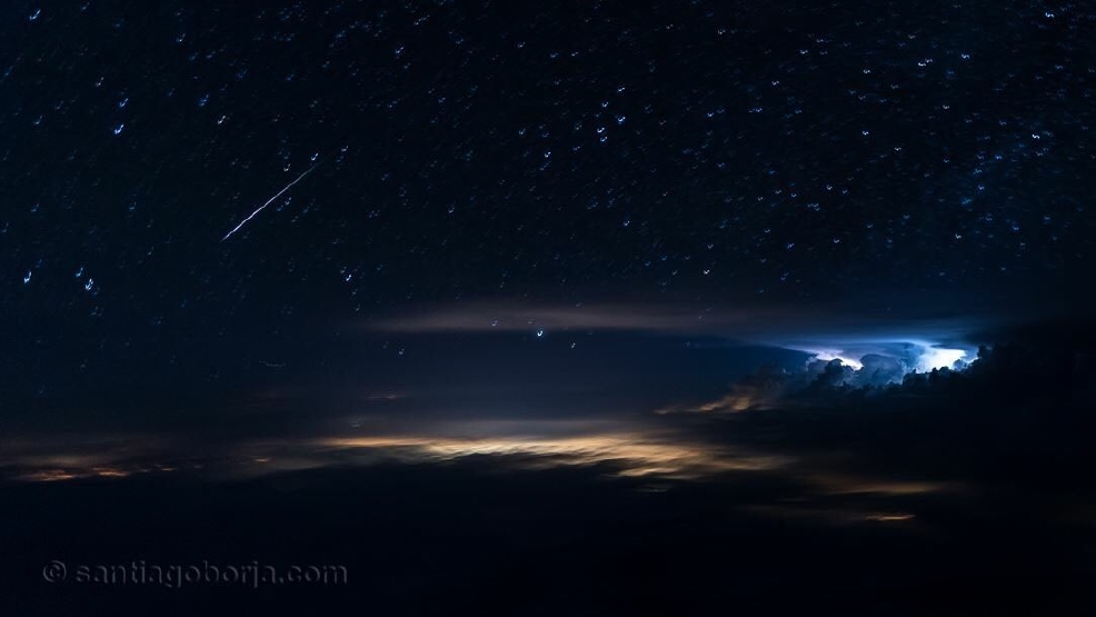 Pilot gets lightning and a Perseid meteor in same photograph