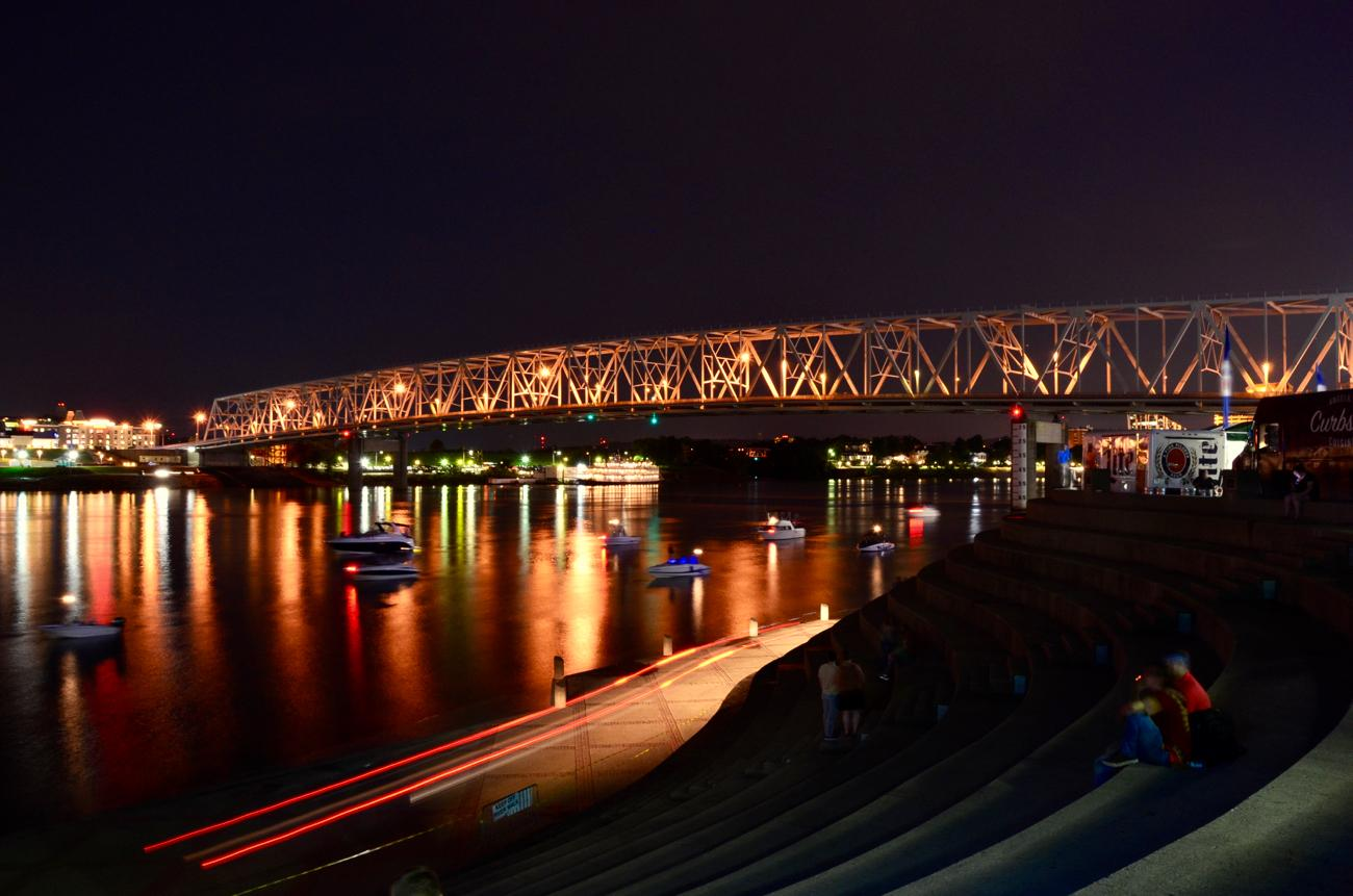 Long-exposure of the Ohio River looking west which was captured during The Chainsmokers performance on Friday night. The scene to the right where The Chainsmokers were performing was much less serene. / Image: Leah Zipperstein, Cincinnati Refined // Published: 6.4.18