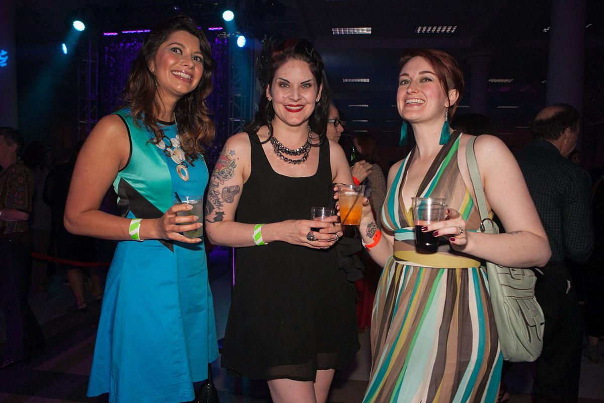 Sabina Beg, Britta Lyle and Stevi Costa party the night in McCaw Hall at the SIFF Opening Night Gala. (Image: Joshua Lewis / Seattle Refined)