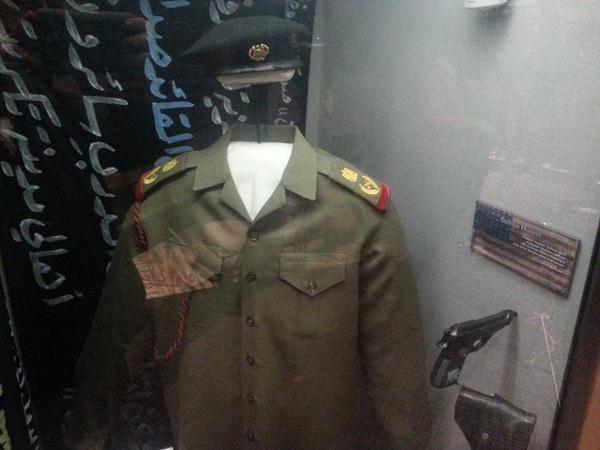 Russell says this uniform was found in a presidential palace and belonged to the former Iraqi dictator Saddam Hussein.  Russell says this is the only Saddam uniform he is aware of in existence in the United States.