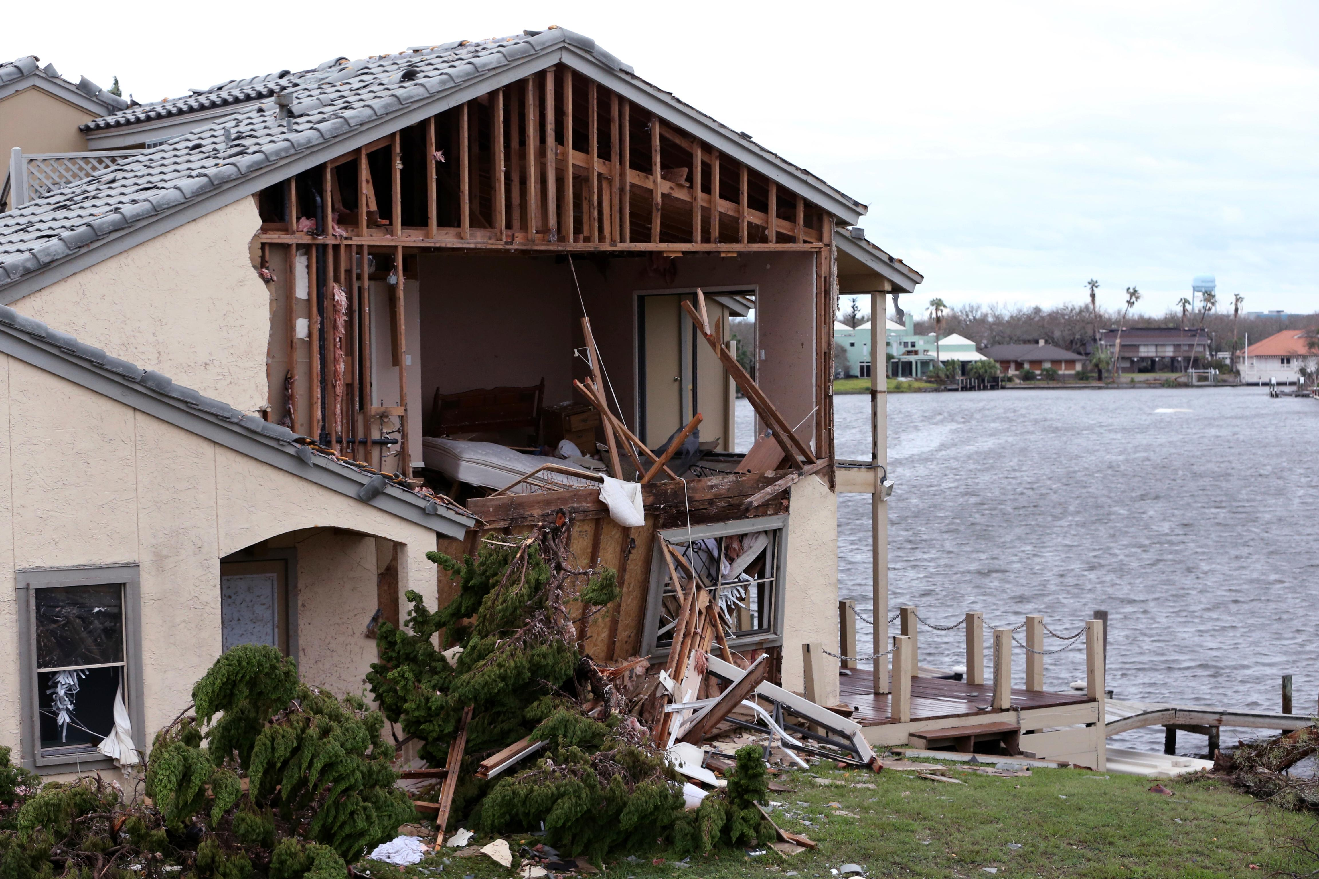 Damage to the Bay House Condominiums is shown in Rockport, Texas in the wake of Hurricane Harvey on Monday, Aug. 28, 2017. (Rachel Denny Clow/Corpus Christi Caller-Times via AP)