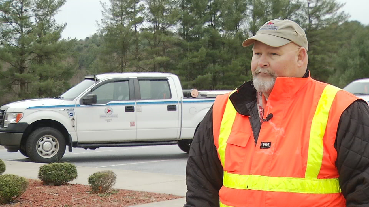With snow in the forecast, North Carolina Department of Transportation crews on Wednesday continued monitoring the weather in Henderson County. (Photo credit: WLOS staff)