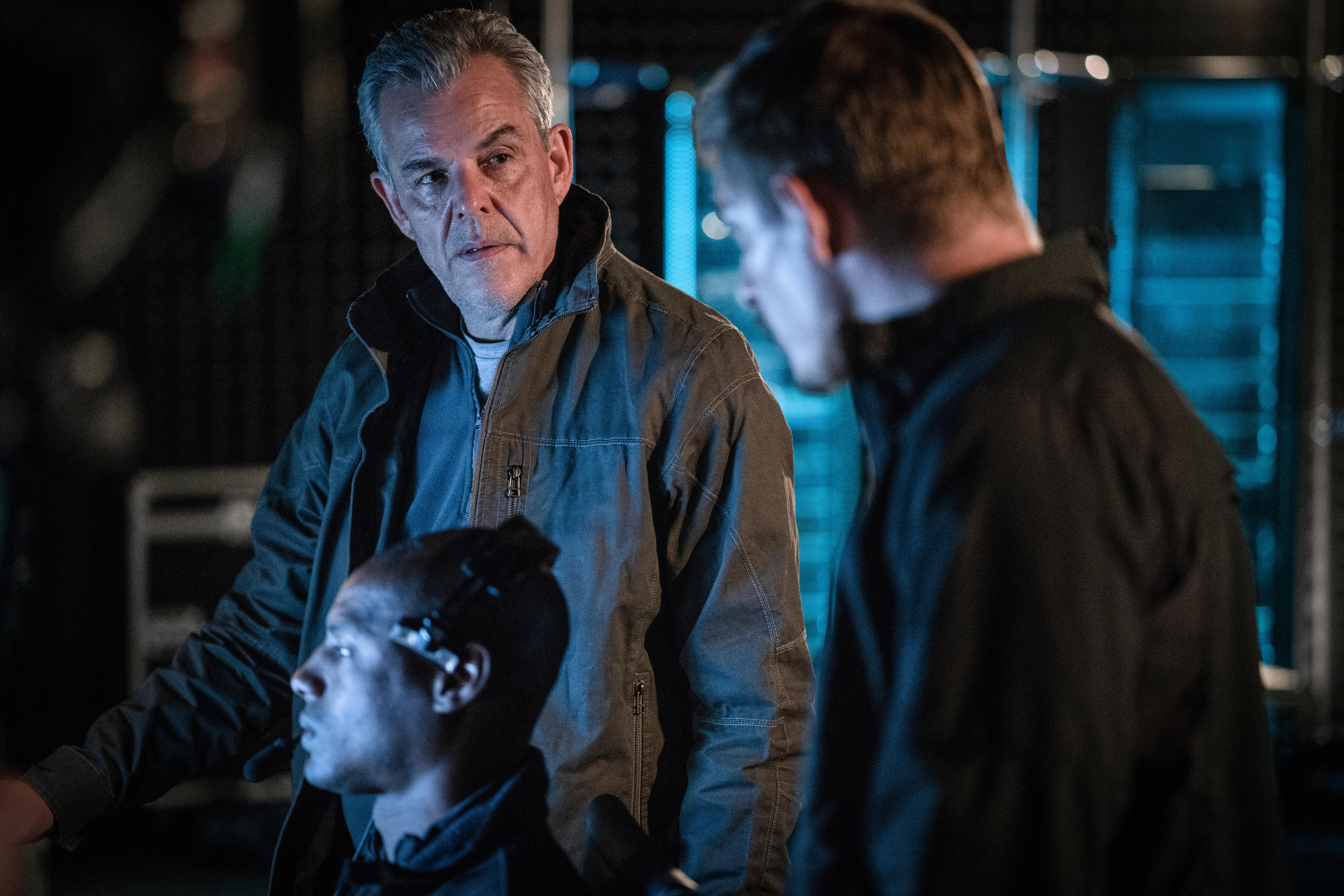 Danny Huston as 'Wade Jennings' and Travis Cole as 'Frederick Schmidt' in ANGEL HAS FALLEN. Photo Credit: Simon Versano.