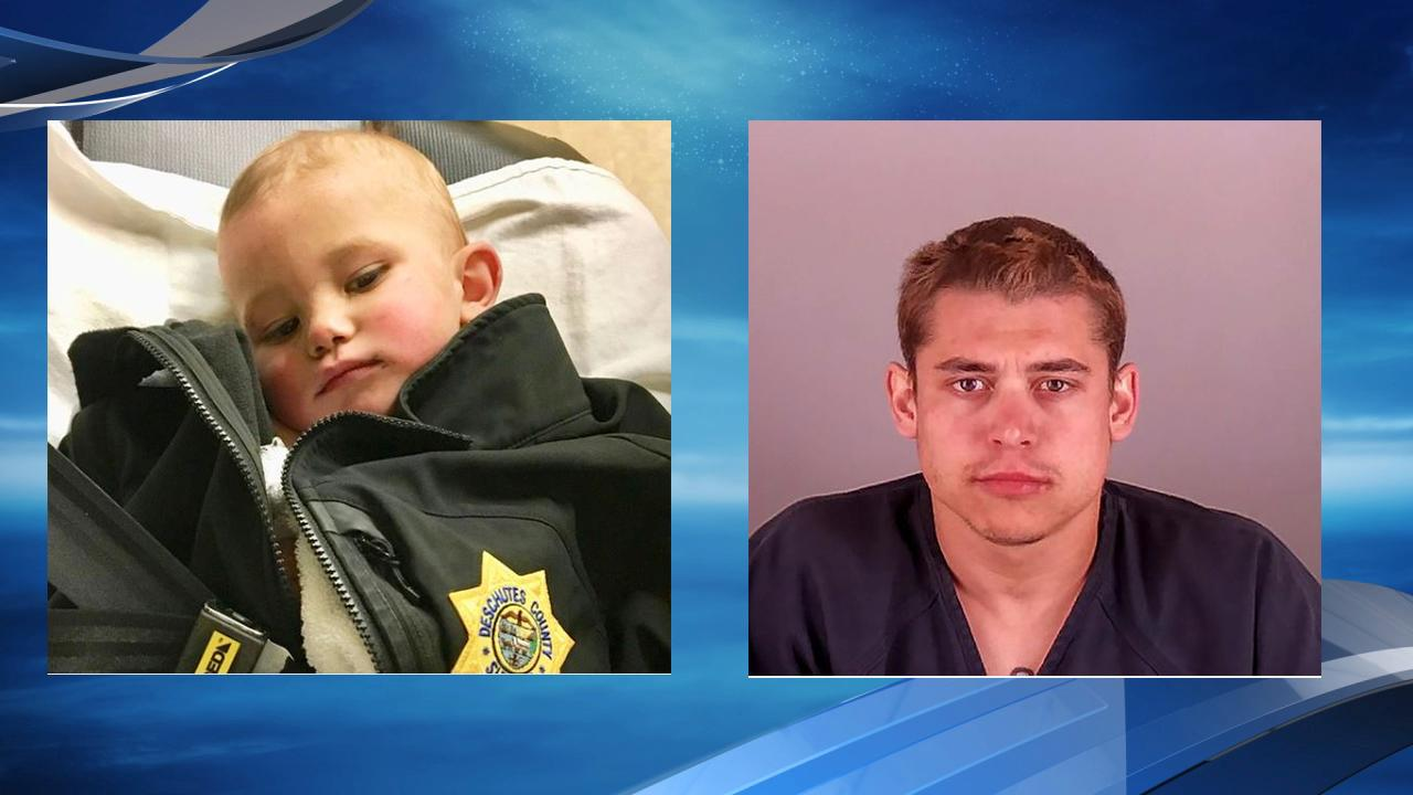 Prosecutors say the 13-month-old boy who was abandoned in the woods near Bend had a broken leg, a skull fracture and methamphetamine in his system. Photos courtesy Deschutes County Sheriff's Office,{ }