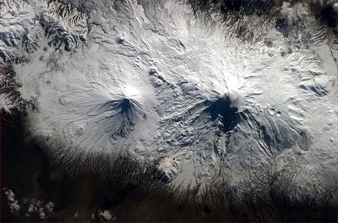 Volcanoes iced with snow - just Southeast of the Black Sea (in Armenia or the surrounding area). (Photo & Caption: Chris Hadfield/NASA)